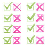 Mark X and V over check box, flat style. Soft color green hooks, pink red crosses. Yes No icons for websites or Stock Image