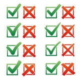 Mark X and V over check box. Gradient color green hooks, red crosses. Yes No icons for websites or applications. Right Royalty Free Stock Photo