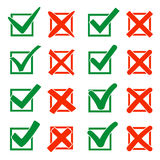 Mark X and V over check box. Green hooks, red crosses. Yes No icons for websites or applications. Right Wrong signs Royalty Free Stock Images
