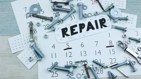 Mark w kalendarzu dla naprawy zbiory