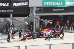 Mark Webber enters pitlane for trial pit stop Stock Photography