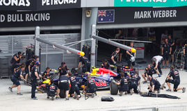 Mark Webber having a trial pit Stock Photo