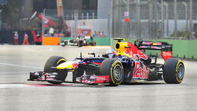 Mark Webber racing in F1 Singapore Grand Prix Stock Images