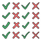 Mark X and V in sketch style. Set of green hooks and red crosses. Yes No icons for websites or applications. Right Wrong Royalty Free Stock Photo