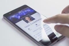 Mark Zuckerberg est le fondateur et le Président de Facebook Images stock