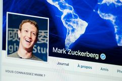 Mark Zuckerberg page account on Facebook. Mulhouse - France 20 April 2018 - Mark Zuckerberg page account on Facebook, Facebook is a well-known social networking royalty free stock photos