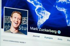 Mark Zuckerberg-Seitenkonto auf Facebook lizenzfreie stockfotos