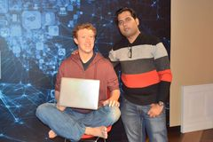Mark zuckerberg wax statue at madame Tussaud wax museum, San Francisco royalty free stock photo