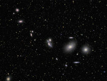 Markarians Chain. Galaxies imaged with a telecope and a scientific CCD camera stock image