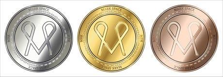 markdown ASTRONAUTYCZNY MRK monety set royalty ilustracja