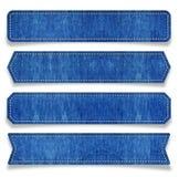 Marke des blauen Baumwollstoffs Stockbilder