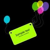 Marke mit bunten Ballonen. Grußkarte Lizenzfreies Stockfoto