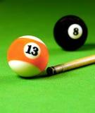 Marke Steuerknüppel- und Snookerkugeln Lizenzfreies Stockfoto