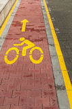Marked bicycle path Royalty Free Stock Photo