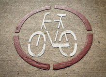 Marked bike lane on the road Royalty Free Stock Photo