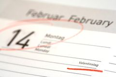 Marked calendar. Red marked calendar for valentine Royalty Free Stock Photo