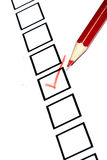 Marked check box. With a red pencil Royalty Free Stock Image