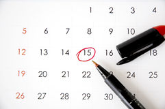 Marked on date fifteen. Red pen marked on date fifteen Stock Image