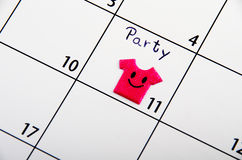 Marked date for party on a calendar. Stock Photography