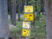 Marked hiking trails, cycling, southern Bohemia. Czech Republic Royalty Free Stock Photos