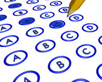 Marked multiple choice bubble answer sheet. Multi-line bubble style answer sheet in blue some choices filled in Stock Photos