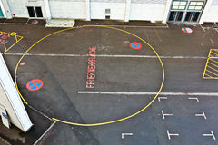 Marked parking lot for fire brigade Stock Photos