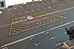 Marked parking lot for fire brigade Royalty Free Stock Photo