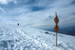 Marked tourist path in the winter Stock Photography