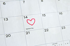 Marked Valentine's Day on Calendar Royalty Free Stock Photography