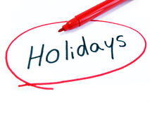 Marked and Written Holidays Stock Photo