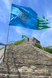 Markeert het drijven in de wind, Badaling-sectie van de Grote Muur, Royalty-vrije Stock Foto
