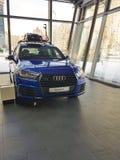 Marken-Darstellungsneuwagen Ukraine Kiew am 25. Februar 2018 stilvolle in Audi Motor Show Lizenzfreie Stockbilder