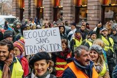 Marken gießen Marsch-Protestdemonstration Le Climat auf französischem stre lizenzfreie stockfotografie