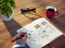 Marken-Markenartikelwerbungs-Handelsmarketing-Konzept lizenzfreie stockfotografie