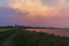 Marken at sunset. Marken island in North Holland at sunset Royalty Free Stock Photo