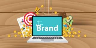 Markenentwicklung oder -gebäude mit GeldzielGoldmünze- und Zielbewertung Lizenzfreie Stockfotografie