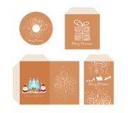 Markenidentität Diskette froher Weihnachten mit Verpackung, Umschlag Retro- Stockfoto