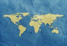 Markenweltkartenaufbereitete Papierfertigkeit Lizenzfreies Stockbild