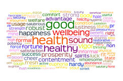 Markenwolke der guten Gesundheit und des Wohls Lizenzfreies Stockfoto