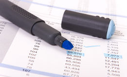 Marker. Blue marker and a report sheet with numbers underlined Royalty Free Stock Photography