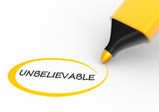 Marker. Word  unbelievable  and a marker. 3d render Royalty Free Stock Photography