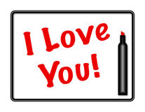 Marker Board I Love You Message. Illustration of a erasable marker board with the words I Love You written in red marker vector illustration