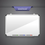 Marker Board. Or whiteboard with markers  on blank grey background Stock Photo