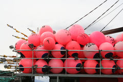 Marker buoys on fishing boat Stock Photo