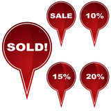 Marker Button Set - Sold. Set of 5 marker buttons - - sale/sold tags Stock Images