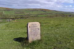 Marker on coastal path near Worbarrow Bay Stock Photos
