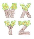 Marker doodle eco english alphabet Stock Images