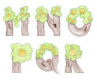 Marker doodle eco english alphabet Stock Photos