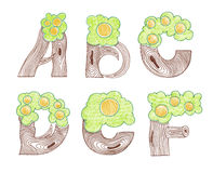 Marker doodle eco english alphabet Stock Photography