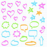 Marker doodles. Set of hand drawn design elements: highlighter marker doodles on squared notebook paper. Hearts, stars, speech bubbles, arrows and ovals Stock Image